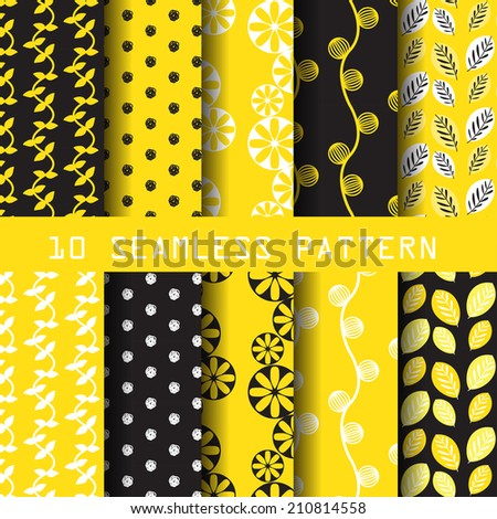 10 different vector seamless patterns natural concept. Endless texture can be used for wallpaper, pattern fills, web page background,surface textures.  - stock vector