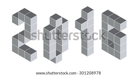 2016 digits from isometric cubes for calendars. Pseudo three dimensional. Vector illustration - stock vector