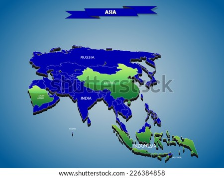3 dimensional infographics political map of Asian continent, with every state easy selectable and editable in one click.Content labeled in Layers panel. - stock vector