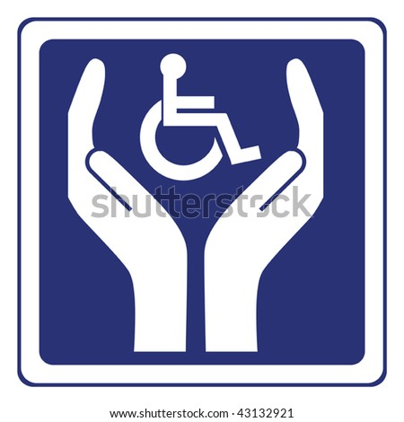 disabled care sign vector - stock vector