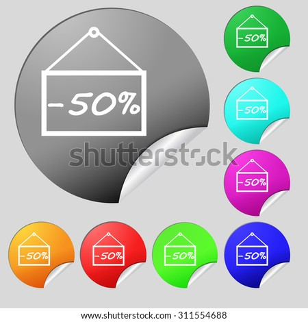 50 discount icon sign. Set of eight multi colored round buttons, stickers. Vector illustration - stock vector