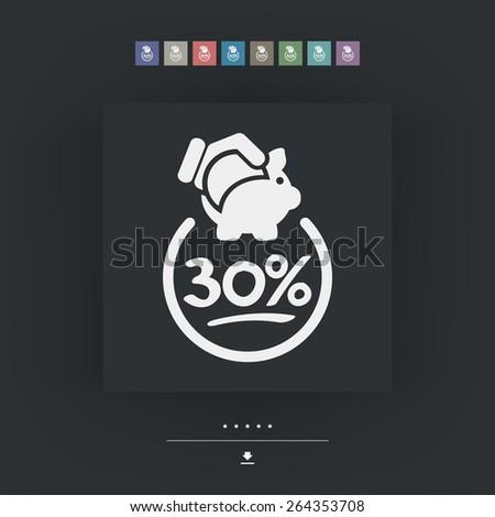 30% Discount label icon - stock vector