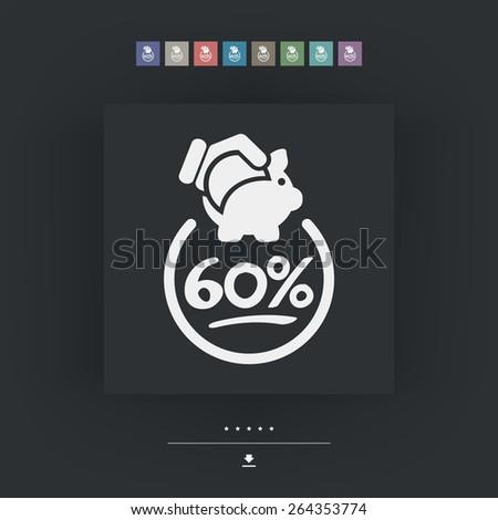 60% Discount label icon - stock vector
