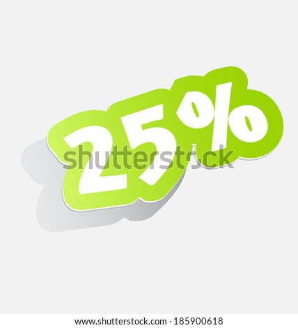 25%: Discount price tags twenty-five percent, stickers with shadow. vector illustration - stock vector