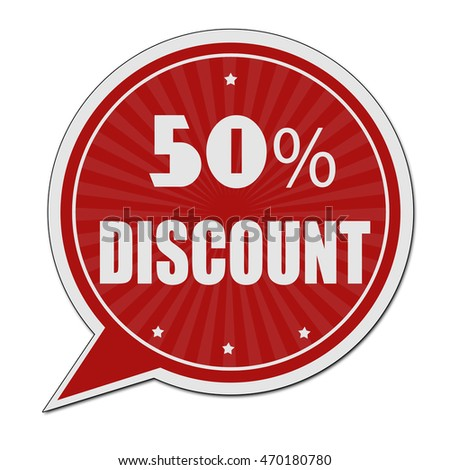 50% discount red speech bubble label or sign on white background