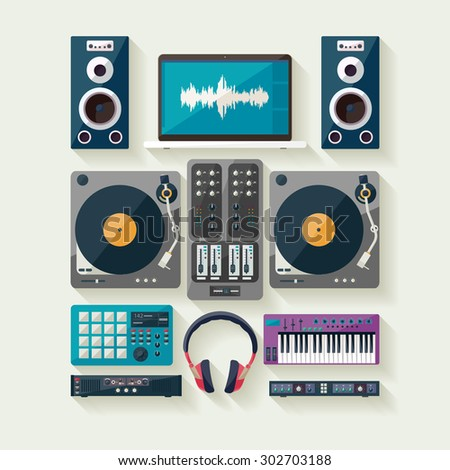 Dj equipment. Flat design. - stock vector