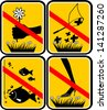 """Do not pick flowers"", ""Fishing is prohibited"", Do not catch butterflies"", ""Do not go on grass"" sticker - stock photo"