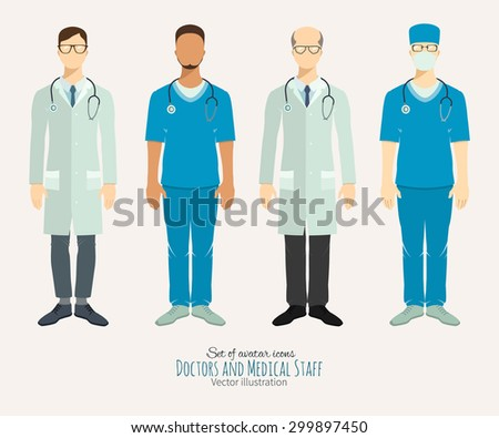 Doctors and medical staff. Set of characters - stock vector