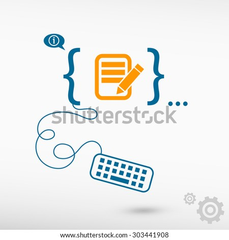 Document icon and flat design elements. Design concept icons for application development, web design, creative process. - stock vector