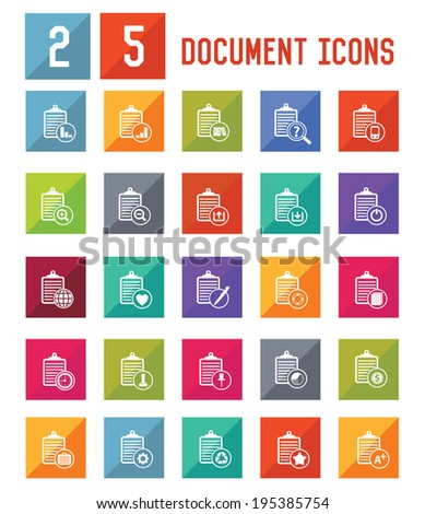 5 Document Icon set on white background,vector - stock vector