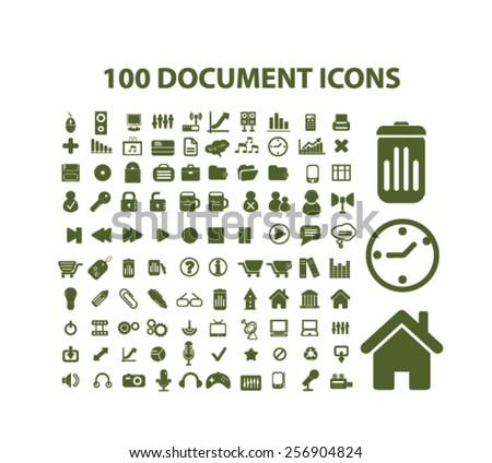 100 document, office, workplace isolated icons, signs, illustrations concept set on background. vector - stock vector