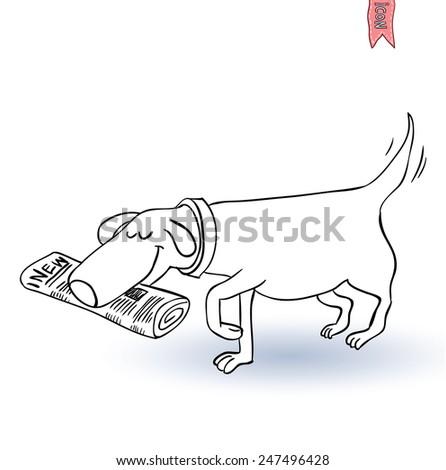 dog hold newspaper icon -  illustration. - stock vector