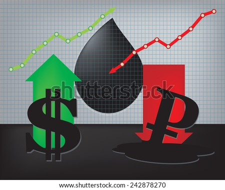Dollar growth,Ruble decline illustration based on oil price with red down arrow and oil droplet in background - stock vector