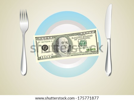 100 dollars banknotes on the plate