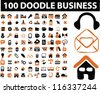 100 doodle business icons set, vector - stock vector