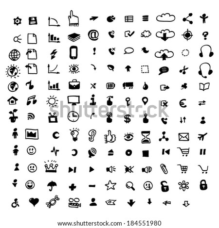 132 doodle icons - stock vector