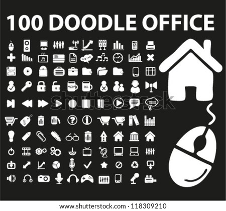 100 doodle office, business icons set, vector