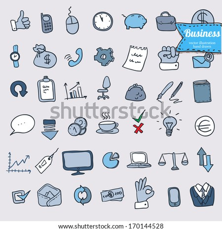 doodle office, business icons set, vector - stock vector