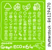 64 doodle series |  ECO,Environment ,Green icon set - stock vector