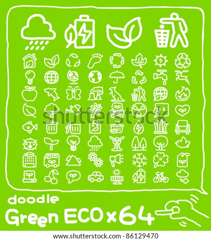 64 doodle series |  ECO,Environment ,Green icon set - stock vector