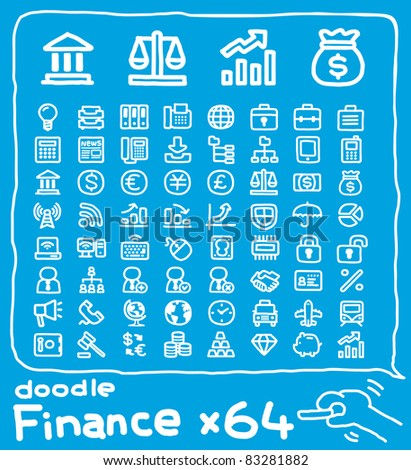 64 doodle series |  finance icon,hand drawn ,cute style. - stock vector