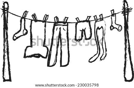 doodle shirts hanging on rope, vector