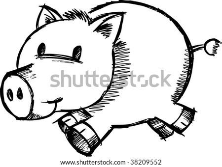 Doodle Sketchy Pig Vector Illustration - stock vector