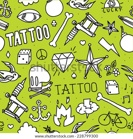 """Doodle tattoo"" seamless vector background (green)"