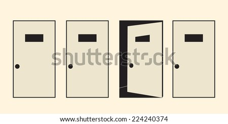 4 doors symbolizing unknown way or  multiple choice options - stock vector