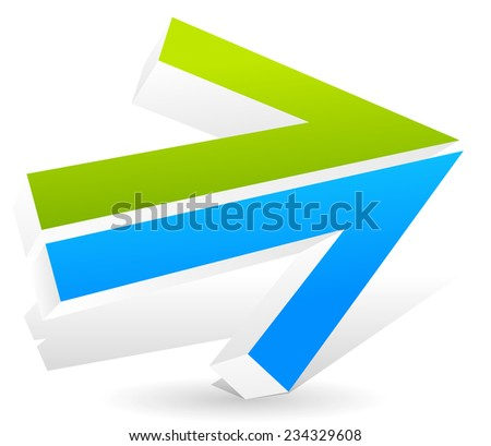 Double arrow pointing right with fresh colors. - stock vector