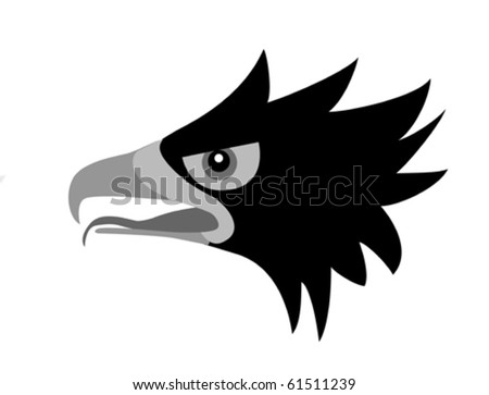 drawing head of the ravenous bird - stock vector