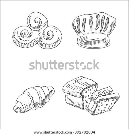 drawings, in sketch hand drawn style, for bakery market, restaurant and  cafe business design - stock vector