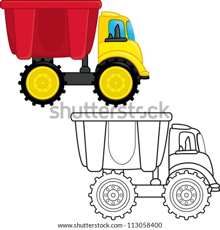 Dump truck toy. Coloring book. Vector illustration - stock vector