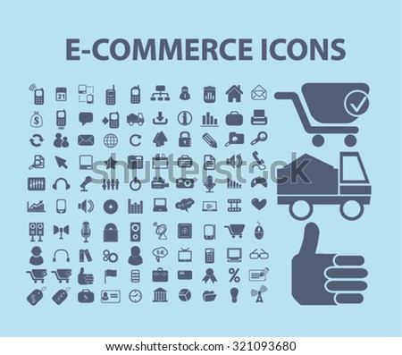100 e-commerce icons - stock vector