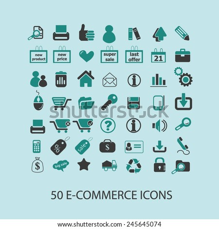 50 e-commerce, shopping, internet shop, ecommerce icons, signs, illustration isolated on background set, vector - stock vector