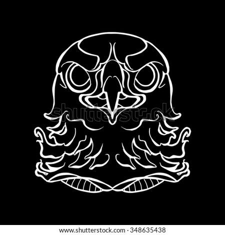 Eagle or Hawk Head Icon black and white. The illustration in style of heraldry. Print for a mascot and T-shirt or game graphic. Can be used for tattoo.