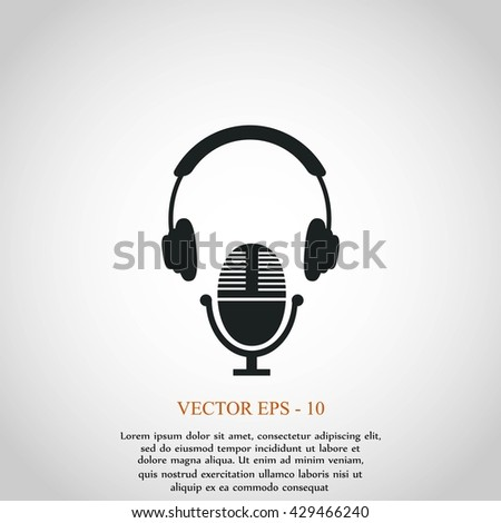 earphone and microphone icon - stock vector