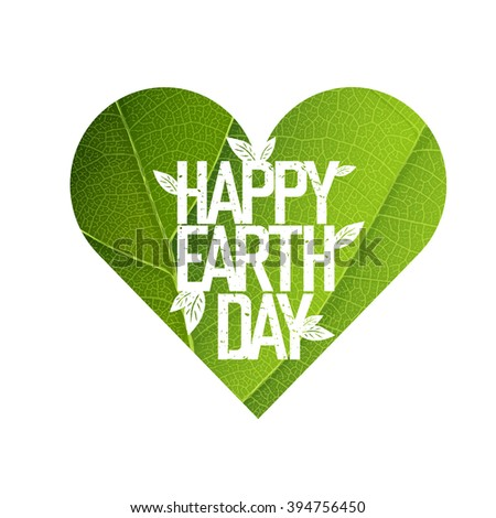 Earth Day Concept Design. Happy Earth Day logotype template. Green Leaf Veins Texture Heart Shaped. Isolated template - stock vector