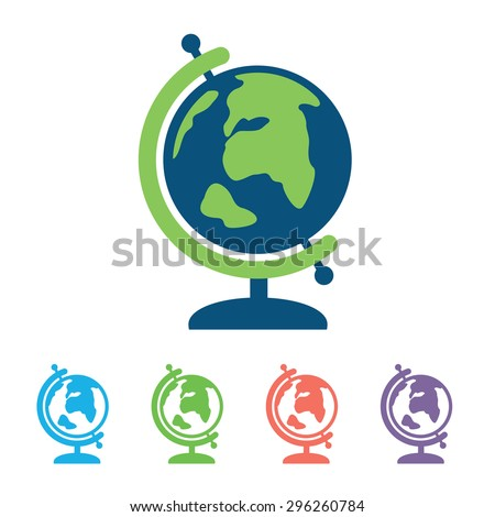 Earth vector icon. Globe icon background. - stock vector