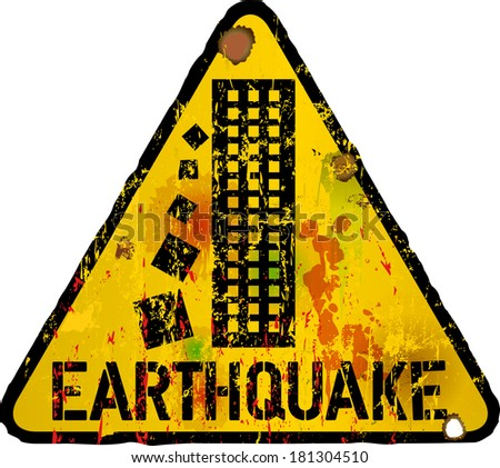 earthquake warning sign, vector - stock vector
