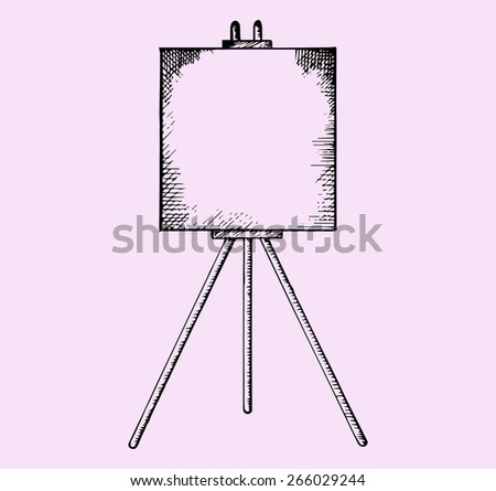 easel with blank canvas, doodle style, sketch illustration - stock vector