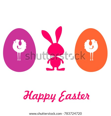 Easter Card Icon Label Rabbit Symbol Stock Vector 783724720