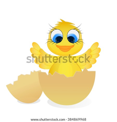 Easter chick. Adorable chick hatched from an egg. Isolated. Vector. - stock vector
