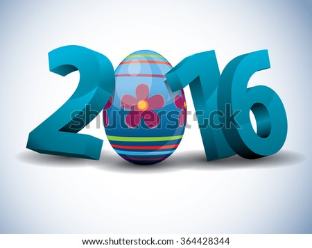 2016 Easter - 3d Text with Easter Egg - stock vector