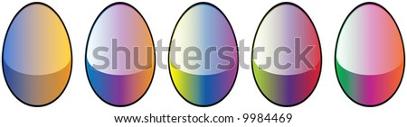 5 Easter Egg High Quality Glossy Button Icons Vector Illustrations