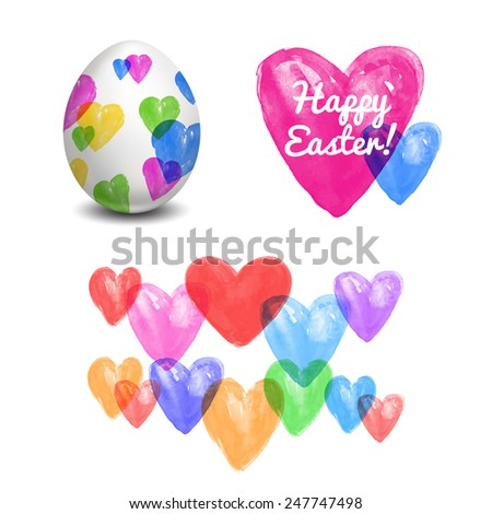 Easter egg. Watercolor paints. Happy Easter. Vector object. 3D. Realistic Easter eggs.Hearts. - stock vector