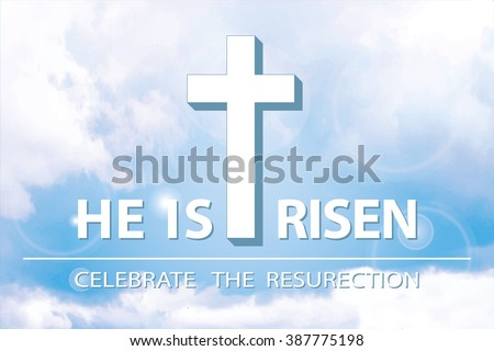 Easter.He is risen.Easter background.Blue sky.Vector illustration,wallpaper. Blue sky with clouds, divine sunlight ,crucifixion,cross. Religious design template, a symbol of faith.Horizontal - stock vector
