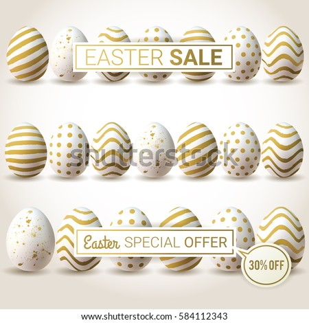 Easter SALE vector banners. Minimalistic vector template design with golden eggs. Easter special offer.