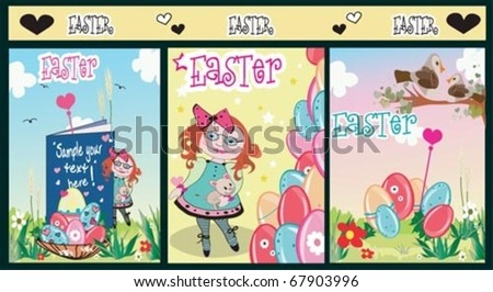 Easter set and Spring Summer cards. - stock vector
