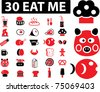 30 eat me icons, signs, vector - stock vector